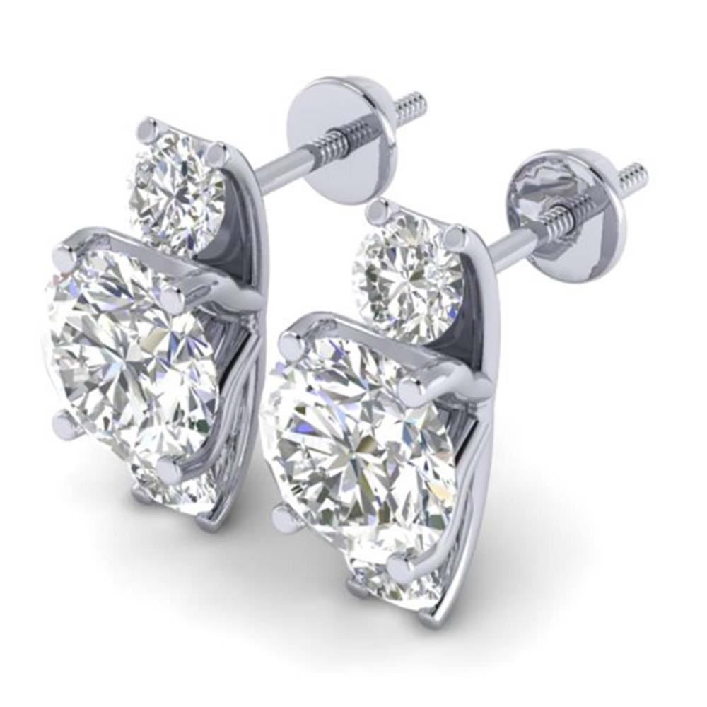 Lot 5028: 2.9 ctw VS/SI Diamond 3 Stone Stud Earrings 18K White Gold - REF-595F4N - SKU:32564