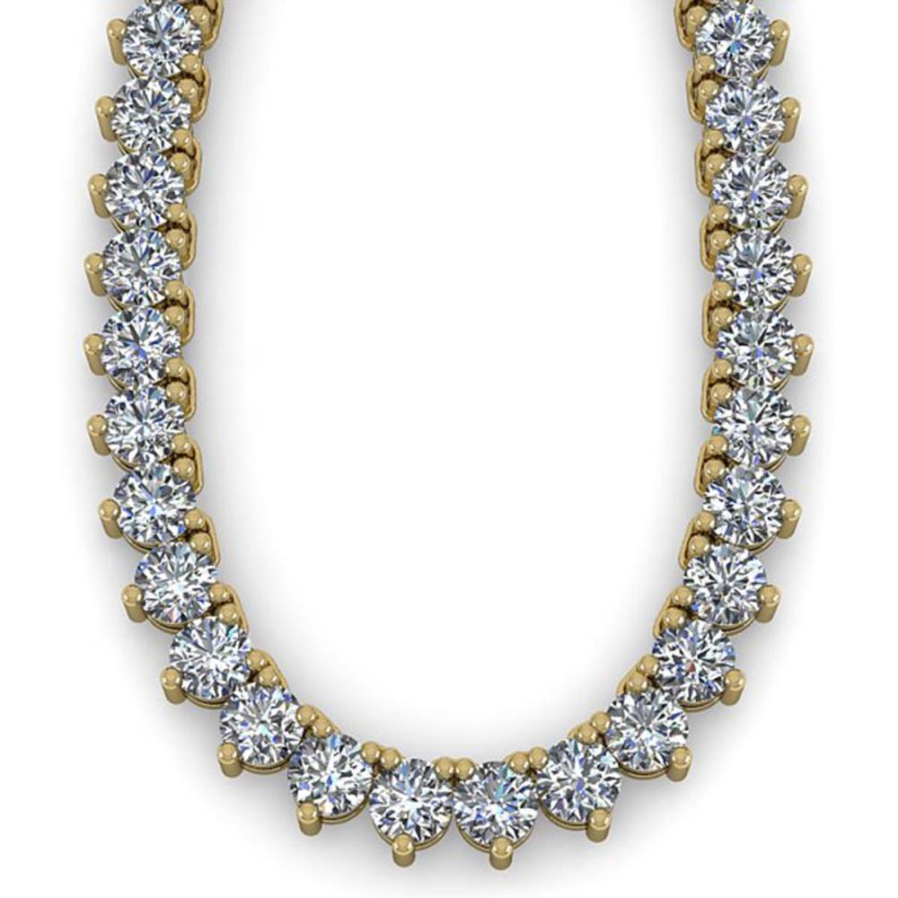Lot 5023: 100 ctw 3 Prong SI Diamond Necklace 18K Yellow Gold - REF-53045V5Y - SKU:36154