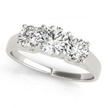 Lot 5034: 1.50 ctw VS/SI Diamond 3 Stone Ring 18K White Gold - REF-200X5R - SKU:28056