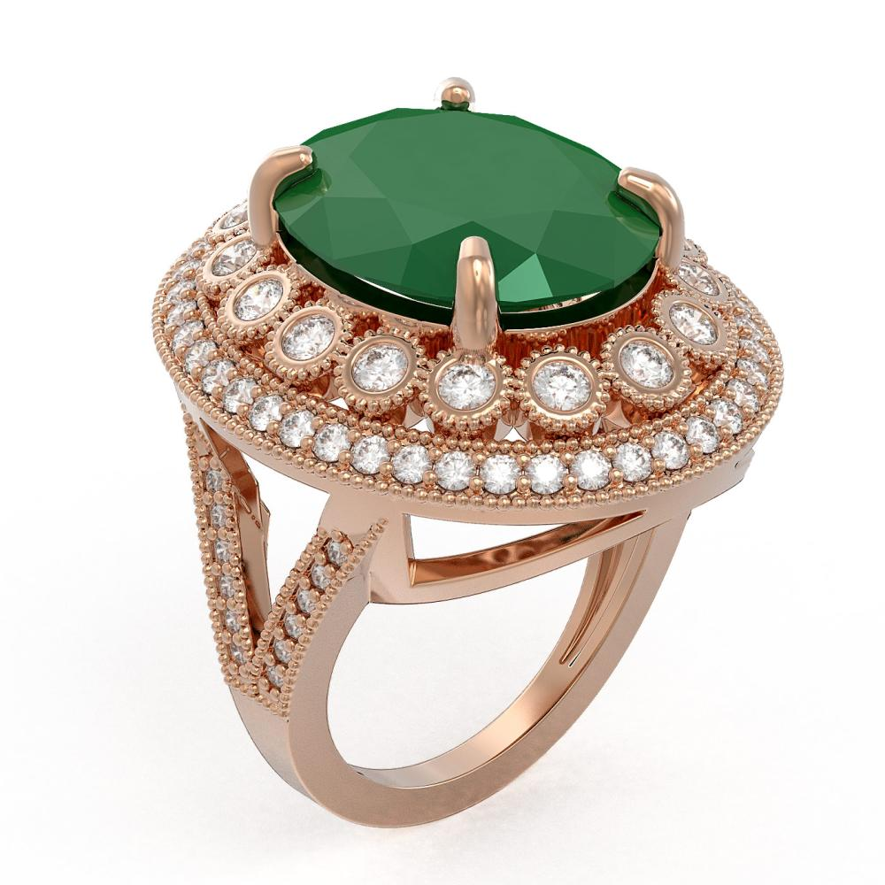 Lot 5037: 13.85 ctw Emerald & Diamond Ring 14K Rose Gold - REF-296H7M - SKU:43845
