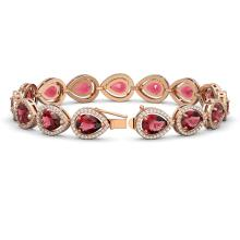 Lot 5033: 19.7 ctw Tourmaline & Diamond Halo Bracelet 10K Rose Gold - REF-509H3M - SKU:41253