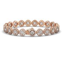 Lot 5044: 15.58 ctw Cushion Diamond Bracelet 18K Rose Gold - REF-2165M9F - SKU:42861