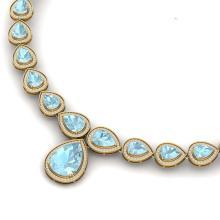 Lot 5046: 54 ctw Sky Topaz & VS Diamond Necklace 18K Yellow Gold - REF-781V8Y - SKU:39431