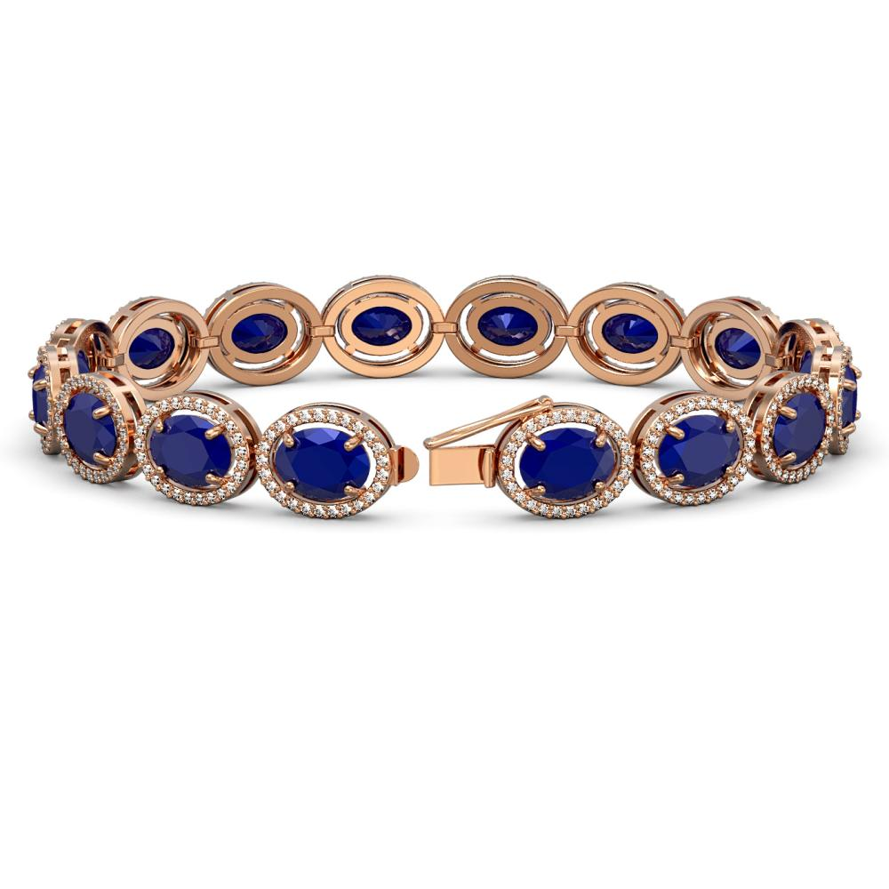 Lot 5053: 31.79 ctw Sapphire & Diamond Halo Bracelet 10K Rose Gold - REF-349R6K - SKU:40704