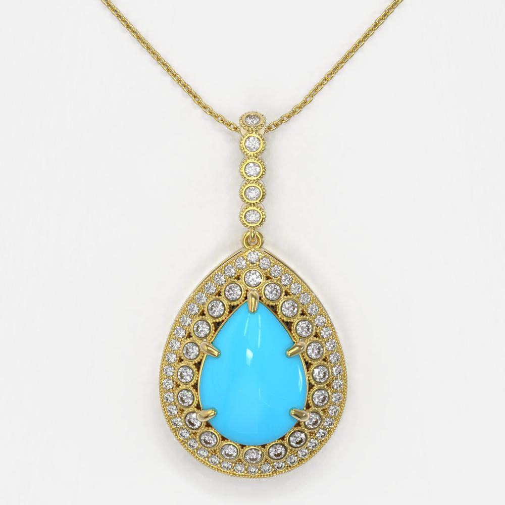 Lot 5064: 10.11 ctw Turquoise & Diamond Necklace 14K Yellow Gold - REF-214X9R - SKU:46190