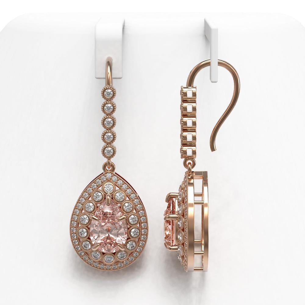 Lot 5069: 8.35 ctw Morganite & Diamond Earrings 14K Rose Gold - REF-364N2A - SKU:43170