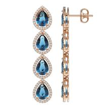 Lot 5073: 11.2 ctw London Topaz & Diamond Halo Earrings 10K Rose Gold - REF-172H7M - SKU:41319