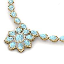 Lot 5087: 29.34 ctw Sky Topaz & VS Diamond Necklace 18K Yellow Gold - REF-527A3V - SKU:39041