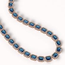 Lot 5060: 79.66 ctw London Topaz & Diamond Halo Necklace 10K Rose Gold - REF-740V2Y - SKU:41511