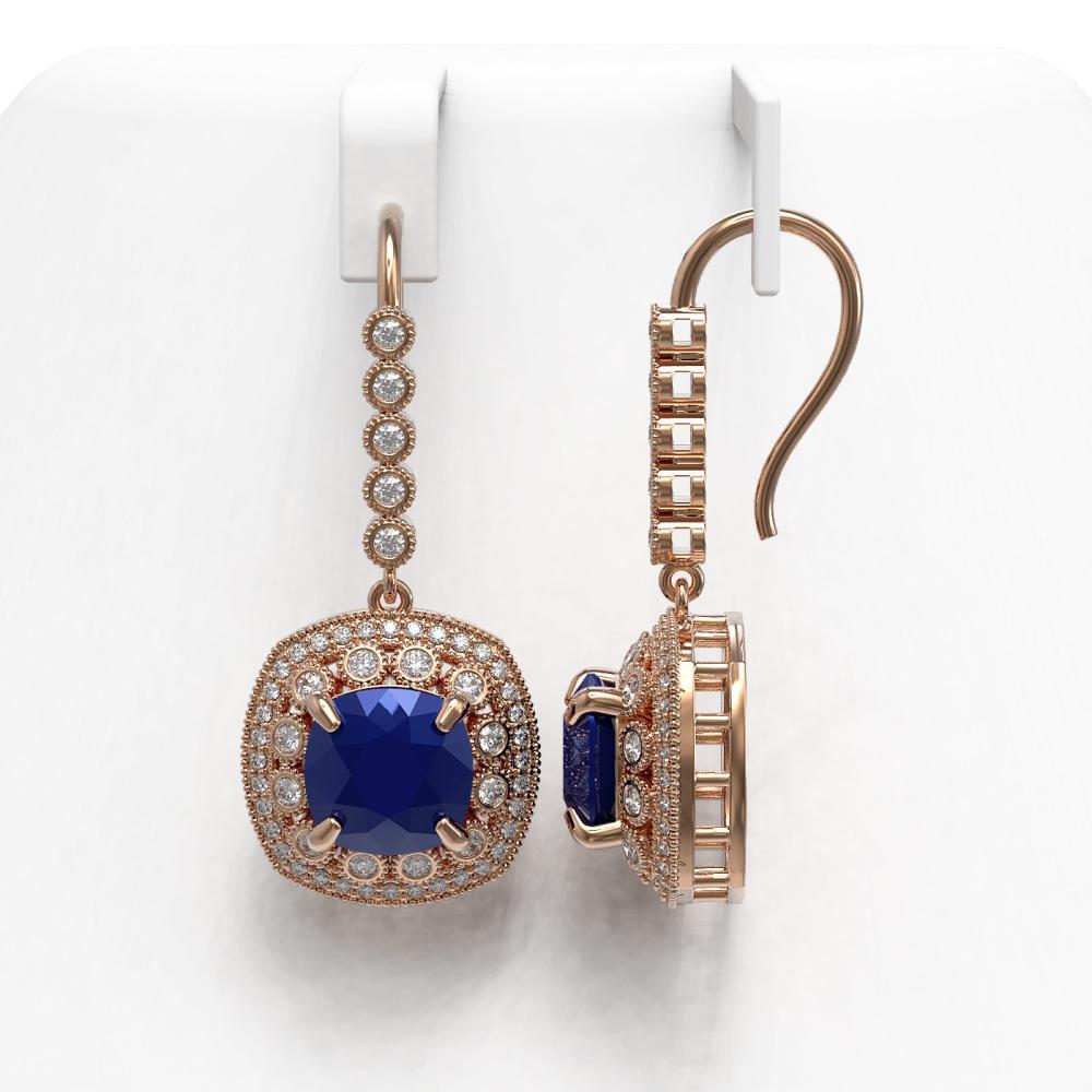 Lot 5082: 12.9 ctw Sapphire & Diamond Earrings 14K Rose Gold - REF-247F6N - SKU:43959