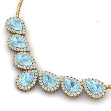 Lot 5096: 36.24 ctw Sky Topaz & VS Diamond Necklace 18K Yellow Gold - REF-527X3R - SKU:38837