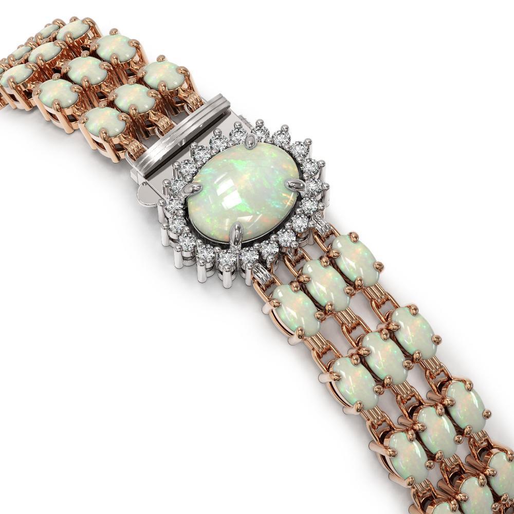Lot 5092: 21.59 ctw Opal & Diamond Bracelet 14K Rose Gold - REF-212V2Y - SKU:45837