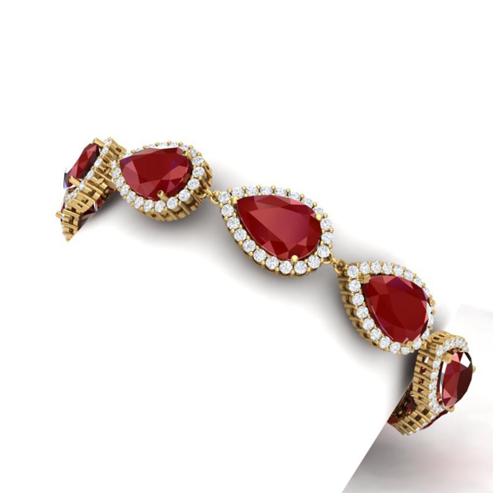 Lot 5105: 42 ctw Ruby & VS Diamond Bracelet 18K Yellow Gold - REF-600F2N - SKU:38861
