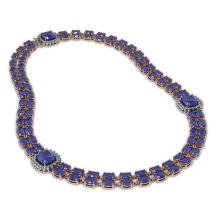 Lot 5097: 72.85 ctw Sapphire & Diamond Necklace 14K Rose Gold - REF-595V3Y - SKU:44802