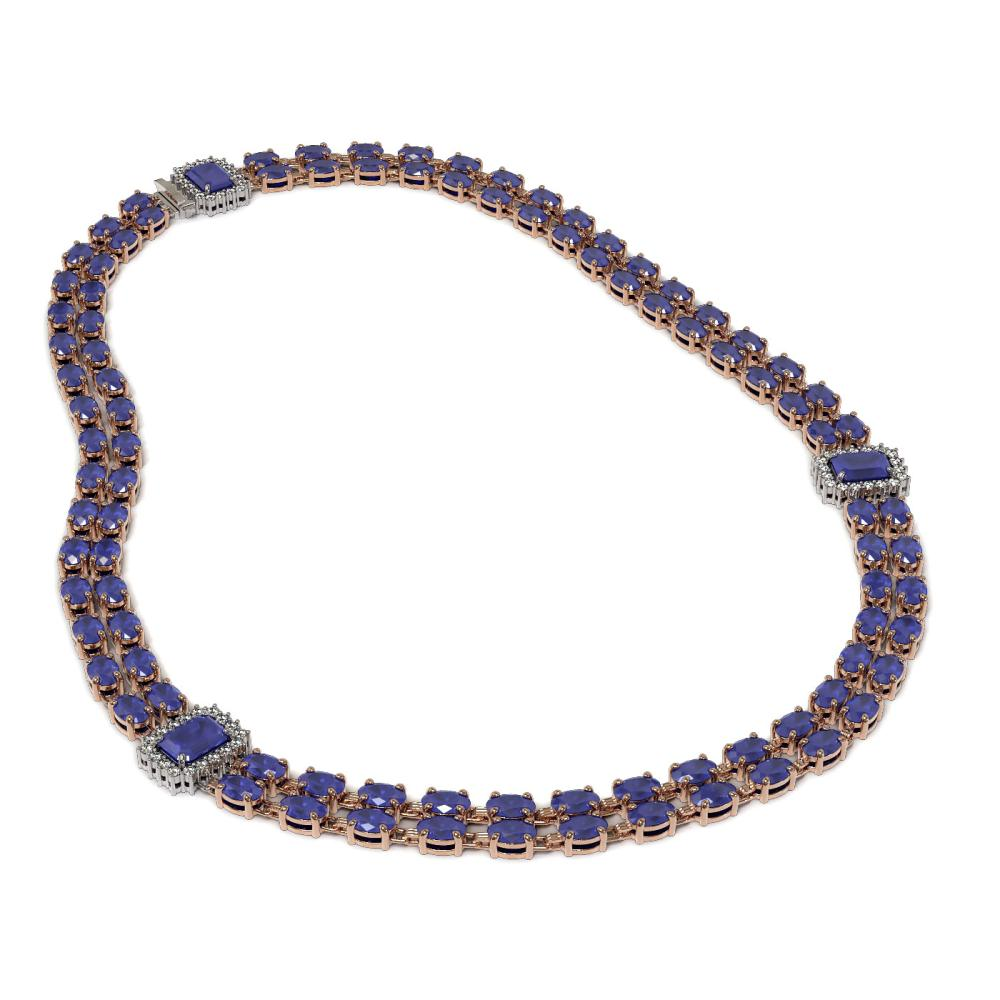 Lot 5102: 63.33 ctw Sapphire & Diamond Necklace 14K Rose Gold - REF-513N6A - SKU:45087