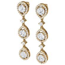 Lot 5114: 4.45 ctw VS/SI Diamond Earrings 18K Yellow Gold - REF-590F9N - SKU:39107