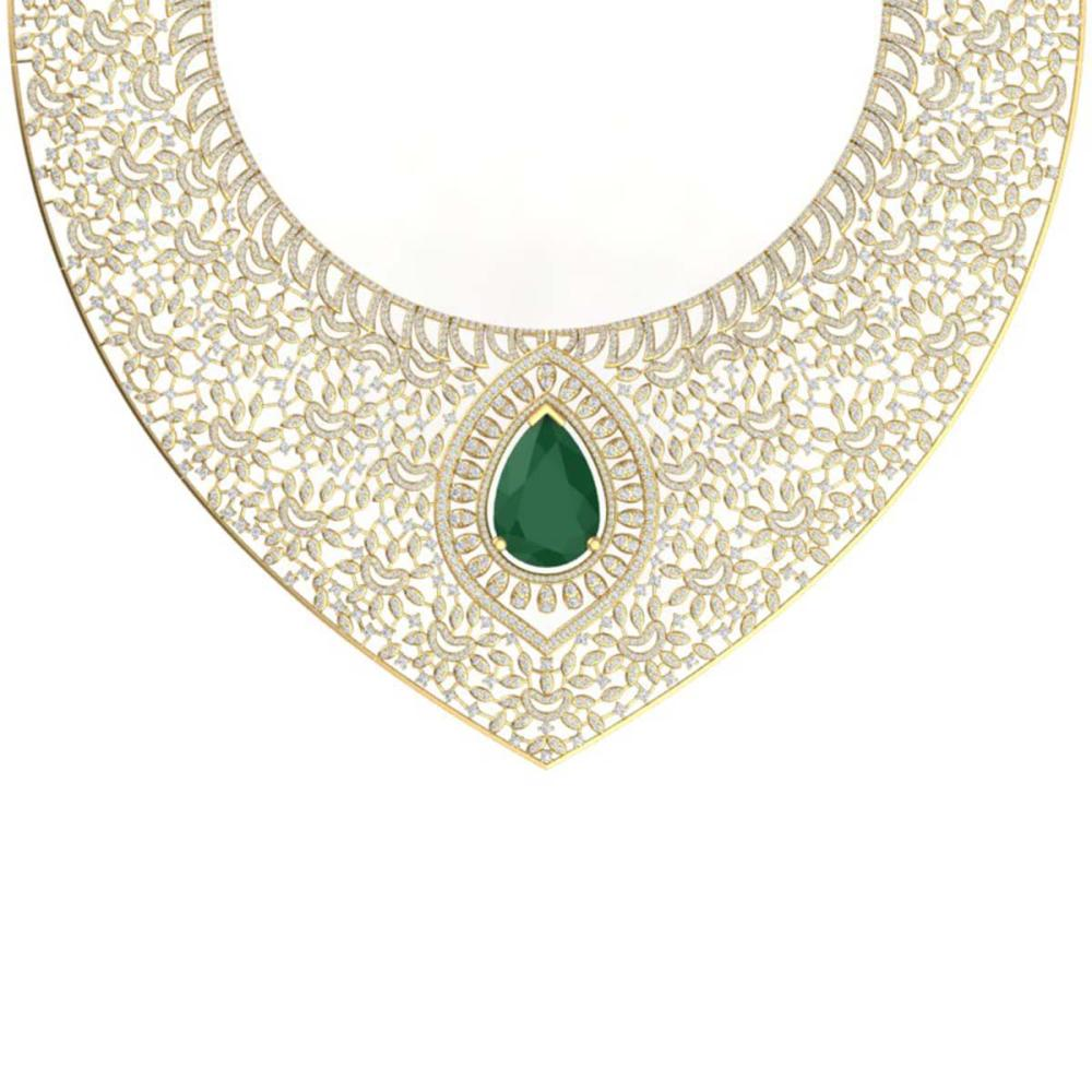 Lot 5127: 63.93 ctw Emerald & VS Diamond Necklace 18K Yellow Gold - REF-2690X9R - SKU:39572