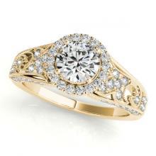 Lot 5153: 1.25 ctw VS/SI Diamond Halo Ring 18K Yellow Gold - REF-178H5M - SKU:26574