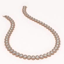 Lot 5160: 42.56 ctw Oval Diamond Necklace 18K Rose Gold - REF-5876W9H - SKU:42813