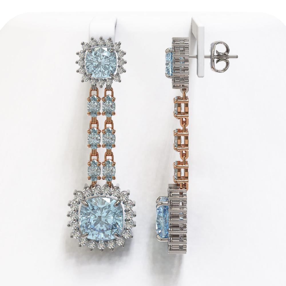 Lot 5162: 16.22 ctw Aquamarine & Diamond Earrings 14K Rose Gold - REF-321F3N - SKU:44934