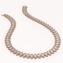 Lot 5158: 47.12 ctw Marquise Diamond Necklace 18K Rose Gold - REF-6554W6H - SKU:42831