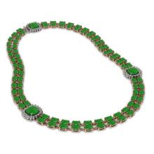 Lot 5168: 70.15 ctw Jade & Diamond Necklace 14K Rose Gold - REF-472W5H - SKU:44850