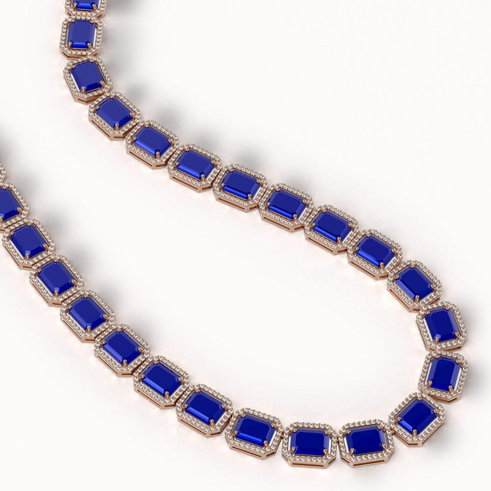 Lot 5172: 84.94 ctw Sapphire & Diamond Halo Necklace 10K Rose Gold - REF-859N5A - SKU:41481