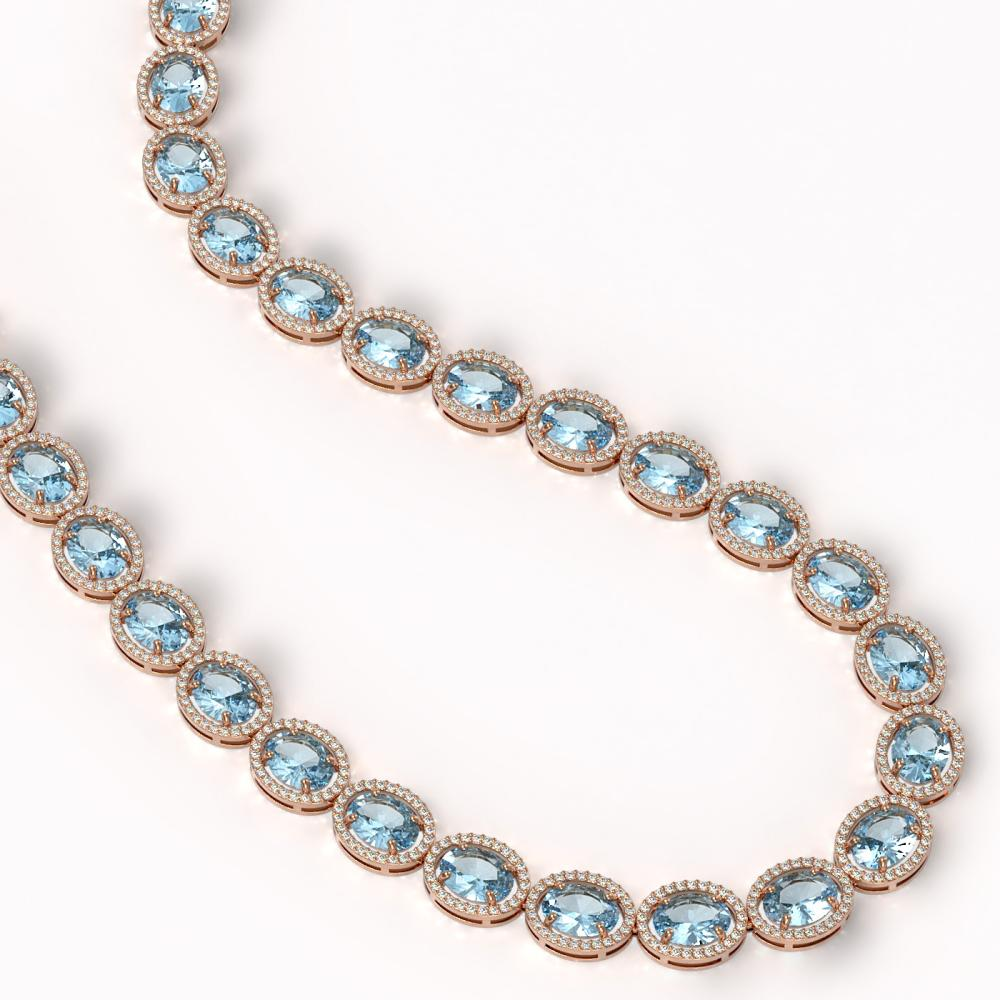 Lot 5173: 68.17 ctw Sky Topaz & Diamond Halo Necklace 10K Rose Gold - REF-654H5M - SKU:40680