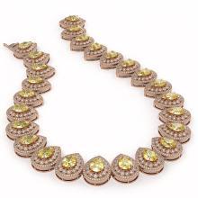 Lot 5186: 103.62 ctw Canary Citrine & Diamond Necklace 14K Rose Gold - REF-3002F4N - SKU:43242