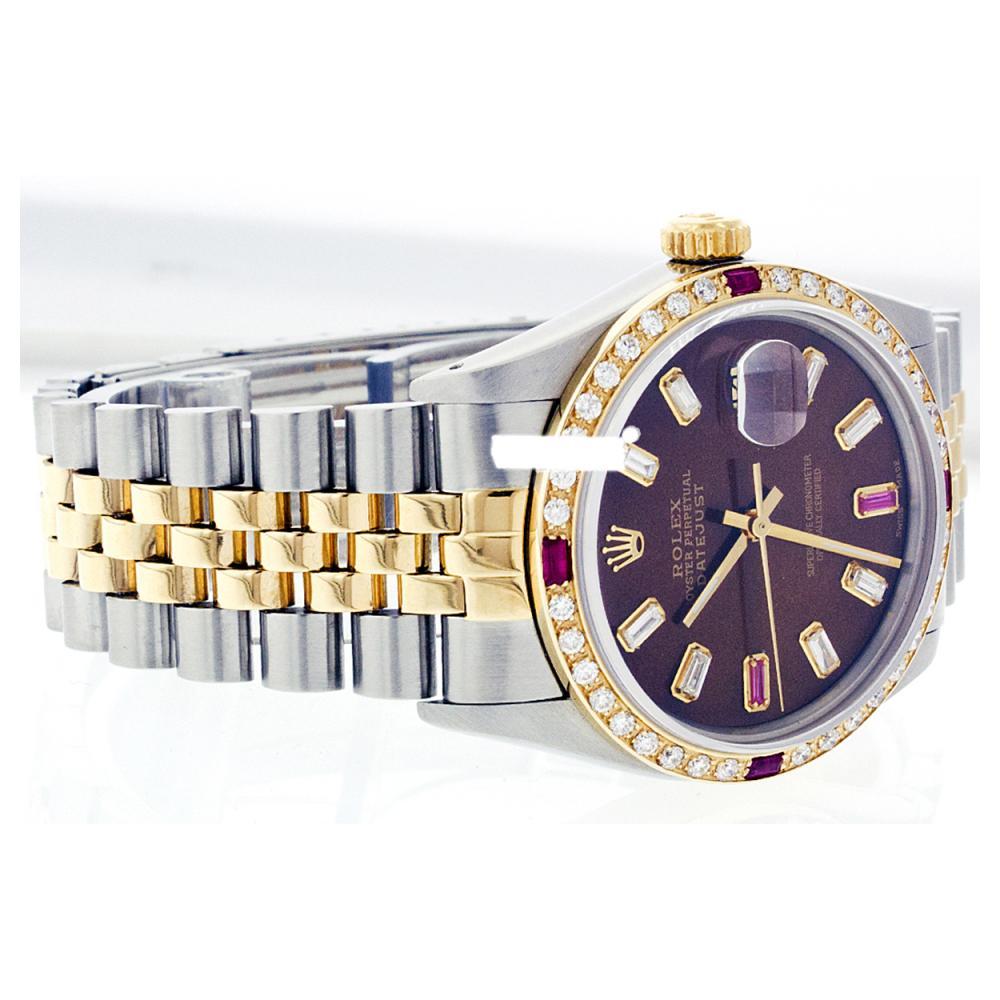 Lot 5191: Rolex Ladies Two Tone 14K Gold/ss, Diam/Ruby Dial & Diam/Ruby Bezel, Sapphire Crystal - REF-456T2K