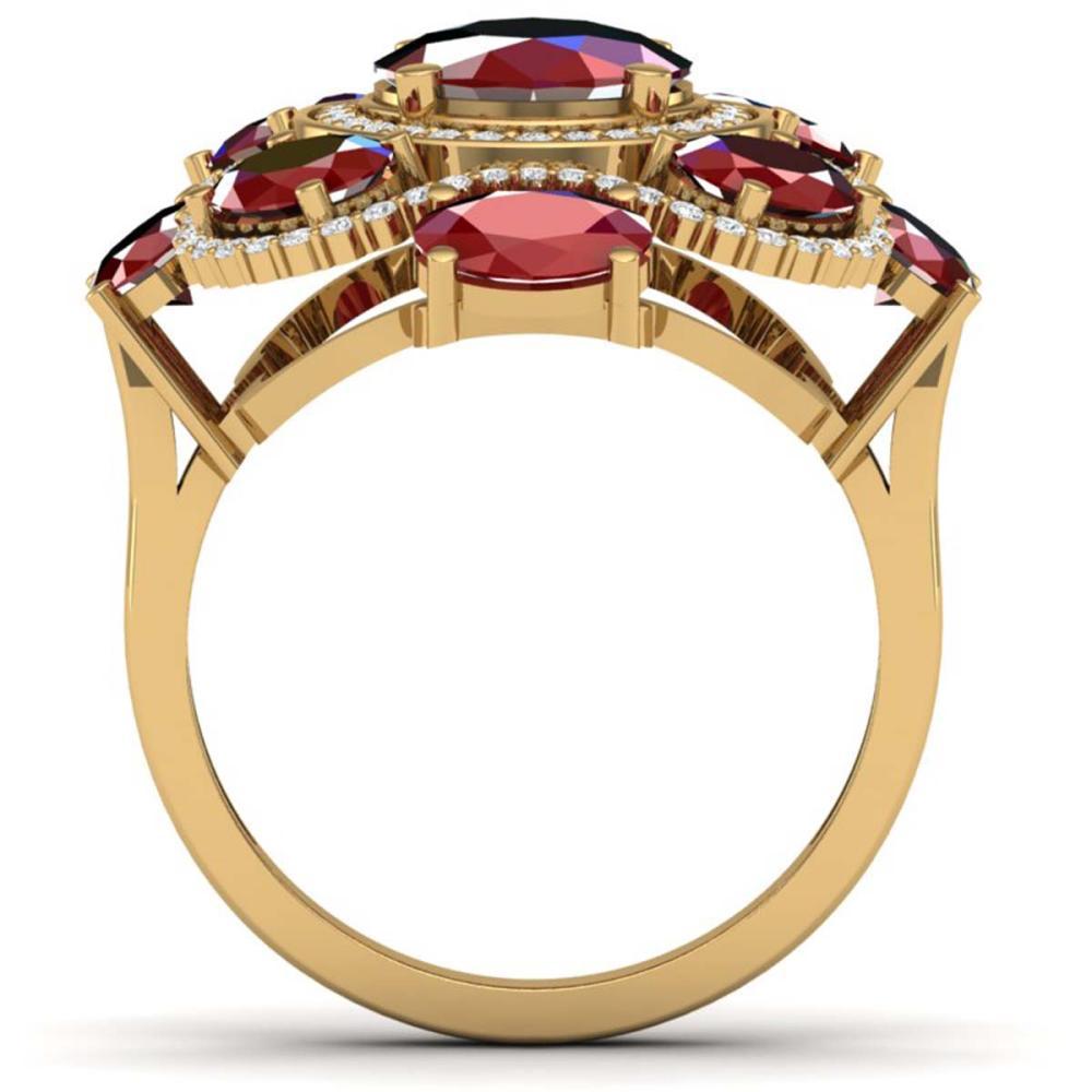 Lot 5008: 9.86 ctw Ruby & VS Diamond Ring 18K Yellow Gold - REF-218H2M - SKU:39296