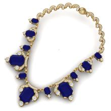 Lot 5010: 75.21 ctw Sapphire & VS Diamond Necklace 18K Yellow Gold - REF-1072A7V - SKU:38753