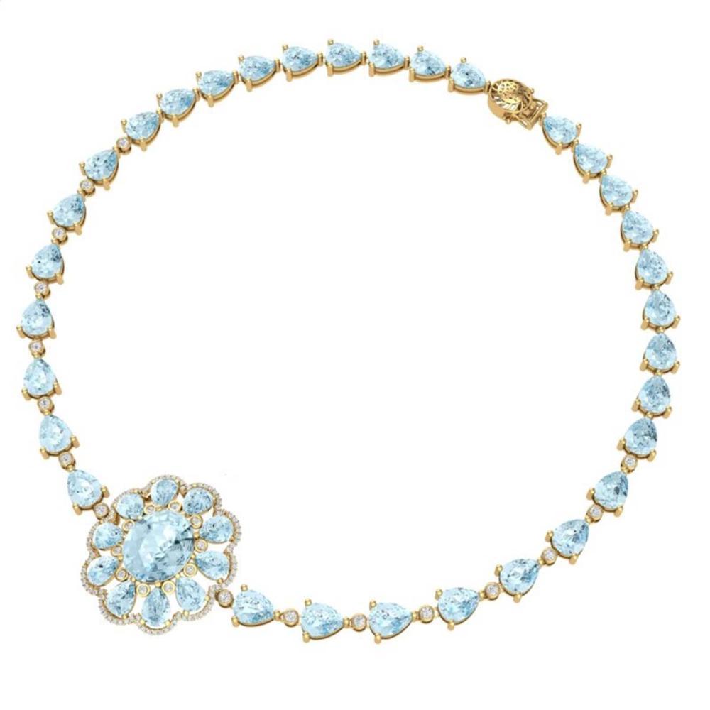Lot 5015: 75.99 ctw Sky Topaz & VS Diamond Necklace 18K Yellow Gold - REF-509A3V - SKU:39179