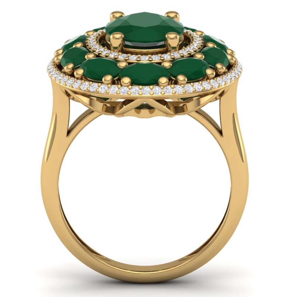 Lot 5019: 8.05 ctw Emerald & VS Diamond Ring 18K Yellow Gold - REF-153X6R - SKU:39239