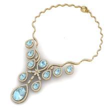 Lot 5024: 37.91 ctw Sky Topaz & VS Diamond Necklace 18K Yellow Gold - REF-800A2V - SKU:38567