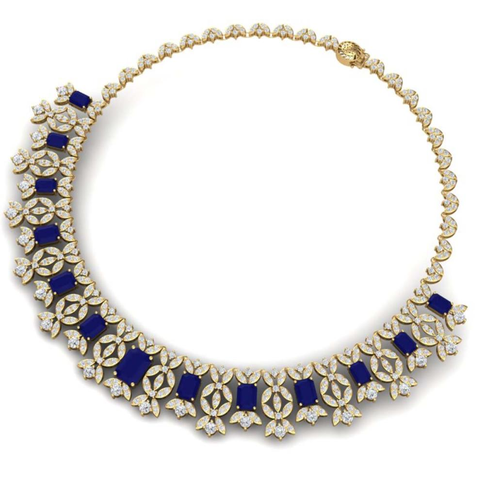 Lot 5025: 50.44 ctw Sapphire & VS Diamond Necklace 18K Yellow Gold - REF-1654M5F - SKU:39383