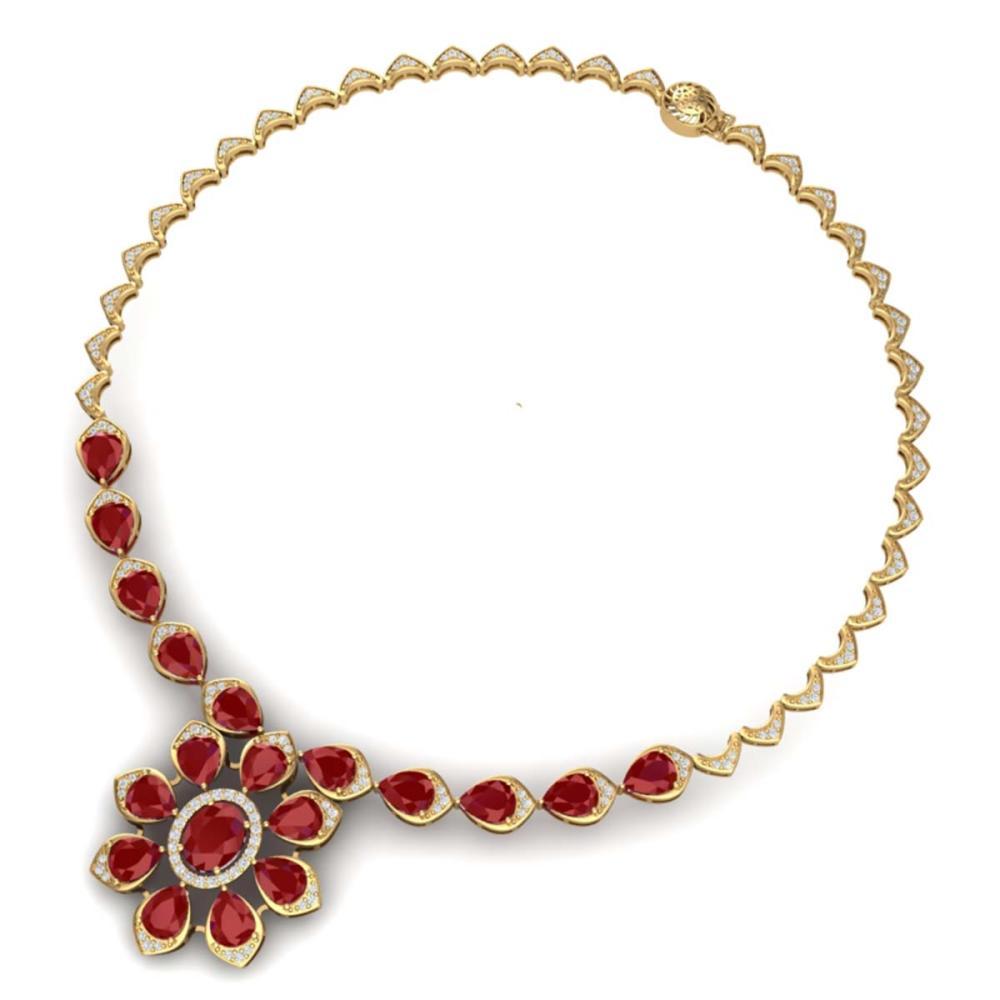 Lot 5031: 30.70 ctw Ruby & VS Diamond Necklace 18K Yellow Gold - REF-654R5K - SKU:39035