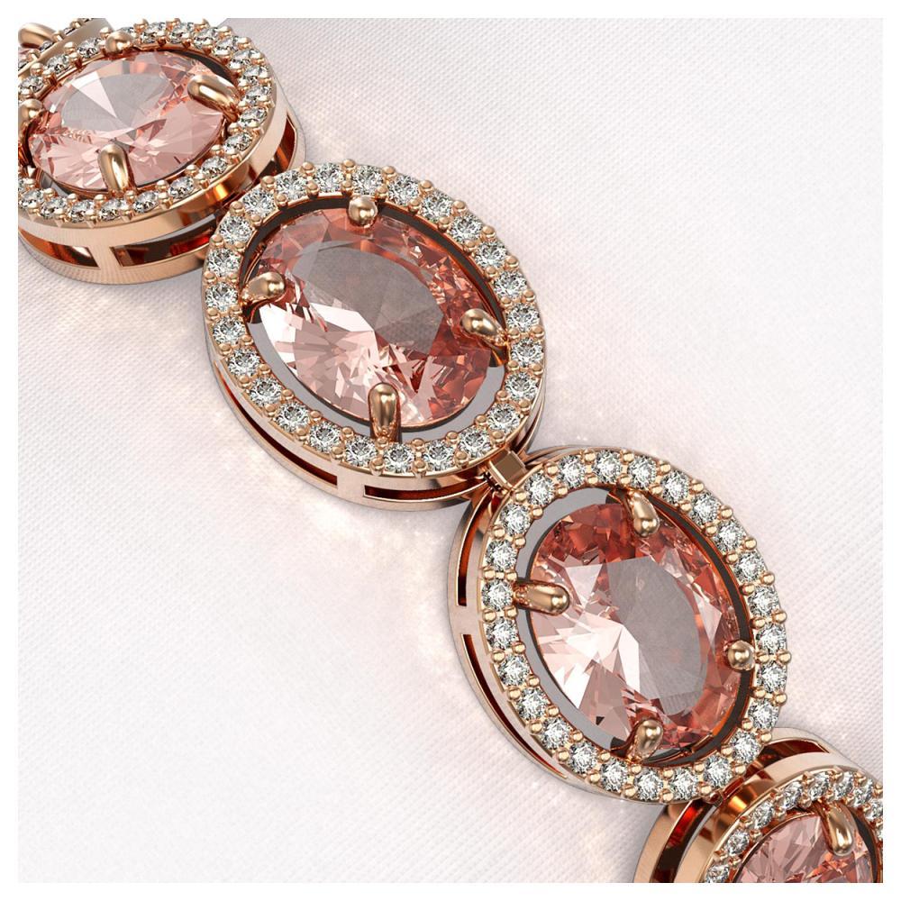 Lot 5026: 22.8 ctw Morganite & Diamond Halo Bracelet 10K Rose Gold - REF-460N2A - SKU:40710