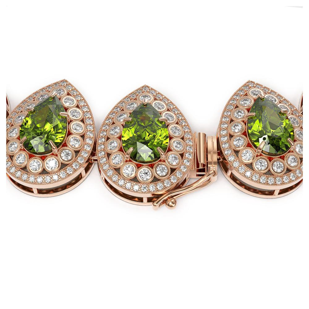 Lot 5035: 124.02 ctw Tourmaline & Diamond Necklace 14K Rose Gold - REF-3955K5W - SKU:43248