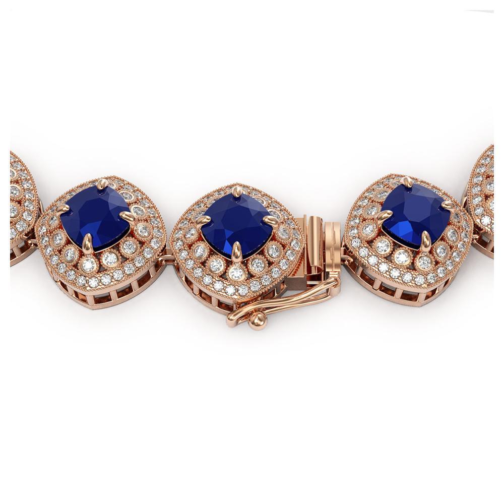 Lot 5039: 82.17 ctw Sapphire & Diamond Necklace 14K Rose Gold - REF-1926H9M - SKU:44103