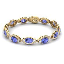 Lot 5050: 20.5 ctw Tanzanite & VS Diamond Bracelet 18K Yellow Gold - REF-487R3K - SKU:38969