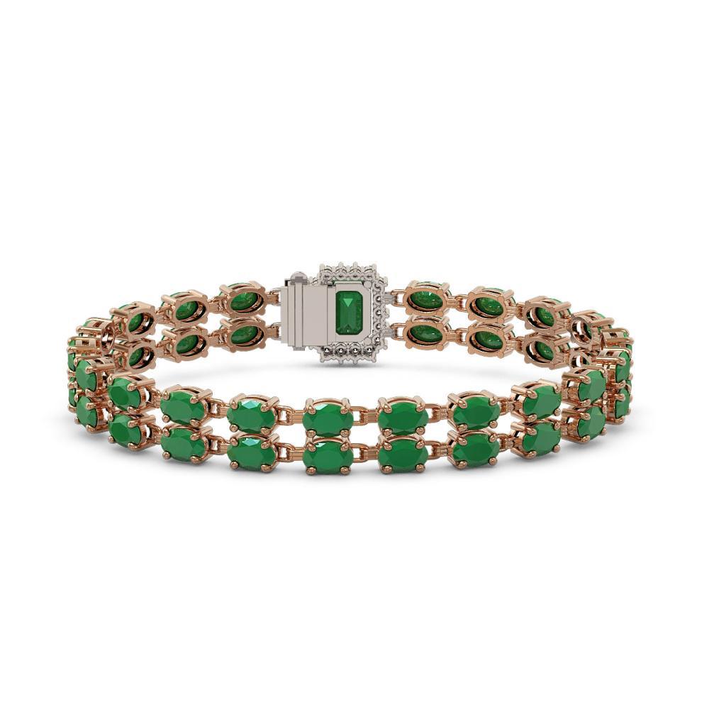 Lot 5058: 29.01 ctw Emerald & Diamond Bracelet 14K Rose Gold - REF-252M4F - SKU:45765