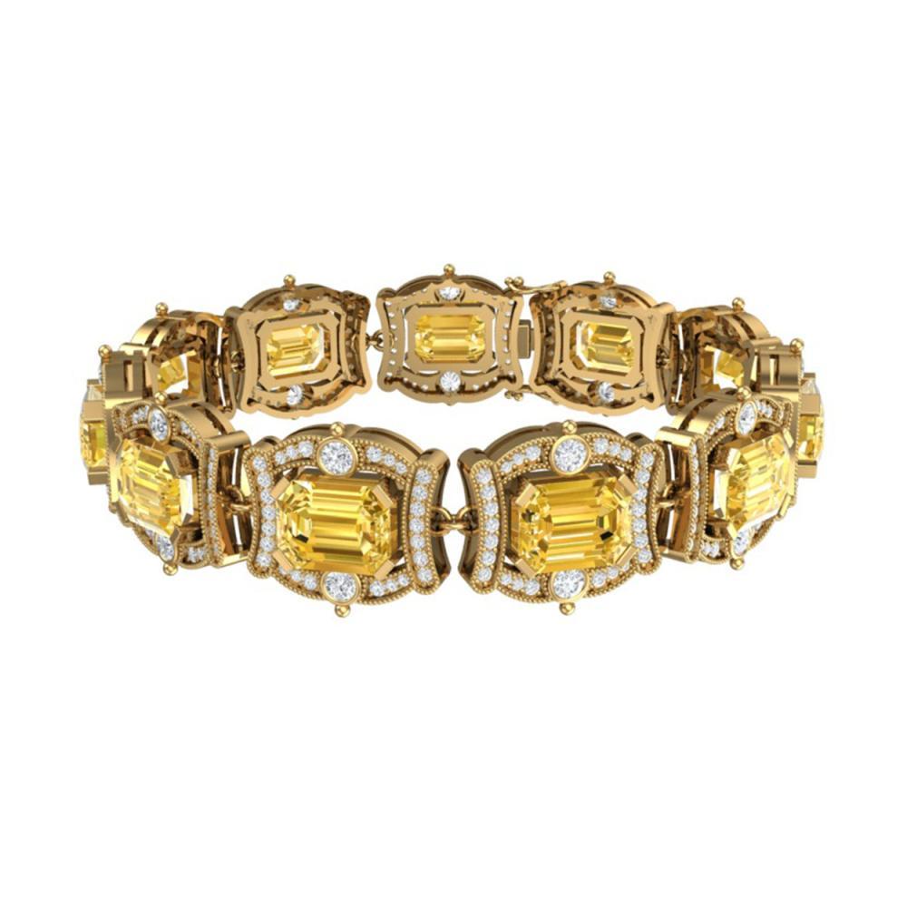 Lot 5065: 37.15 ctw Canary Citrine & VS Diamond Bracelet 18K Yellow Gold - REF-654X5R - SKU:38789