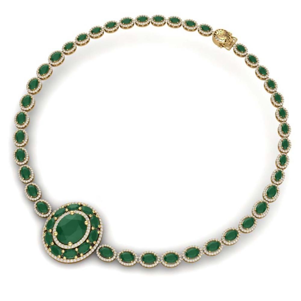 Lot 5072: 43.54 ctw Emerald & VS Diamond Necklace 18K Yellow Gold - REF-1054R5K - SKU:39275