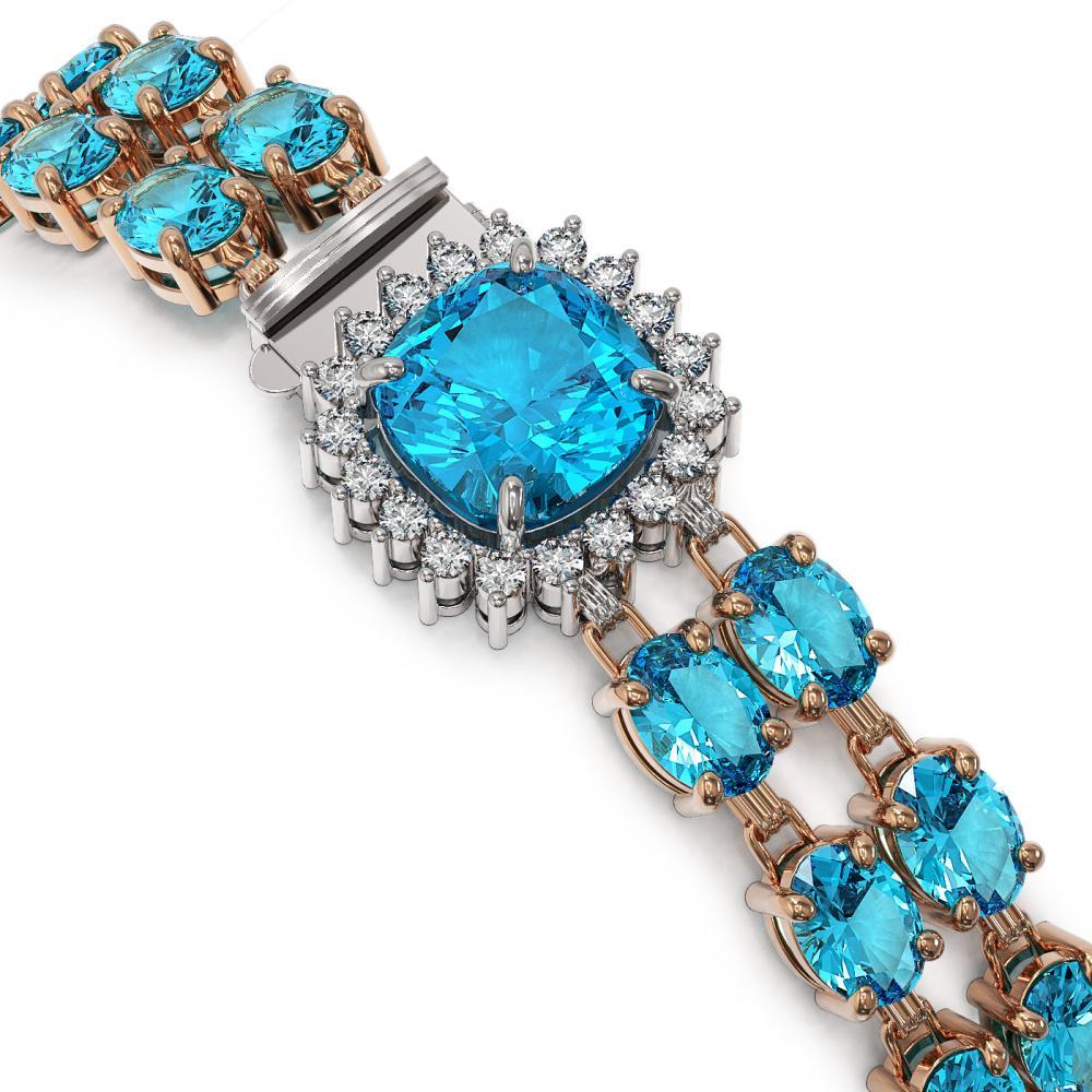 Lot 5074: 41.17 ctw Swiss Topaz & Diamond Bracelet 14K Rose Gold - REF-292R2K - SKU:44886