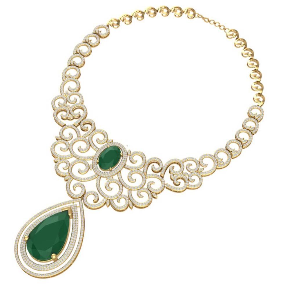 Lot 5083: 87.52 ctw Emerald & VS Diamond Necklace 18K Yellow Gold - REF-2000V2Y - SKU:39838