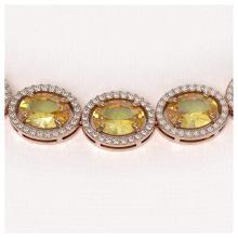 Lot 5077: 58.27 ctw Fancy Citrine & Diamond Halo Necklace 10K Rose Gold - REF-654Y5X - SKU:40692