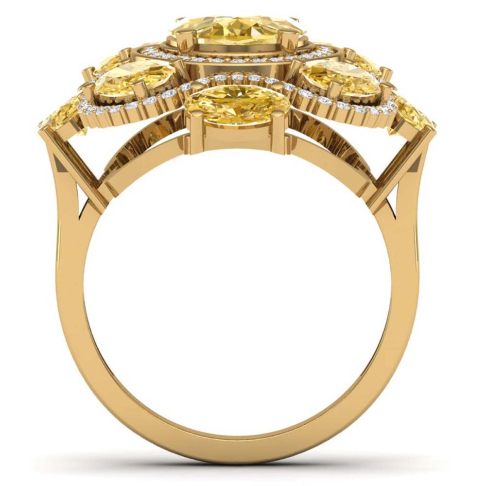 Lot 5085: 7.68 ctw Canary Citrine & VS Diamond Ring 18K Yellow Gold - REF-178V2Y - SKU:39308