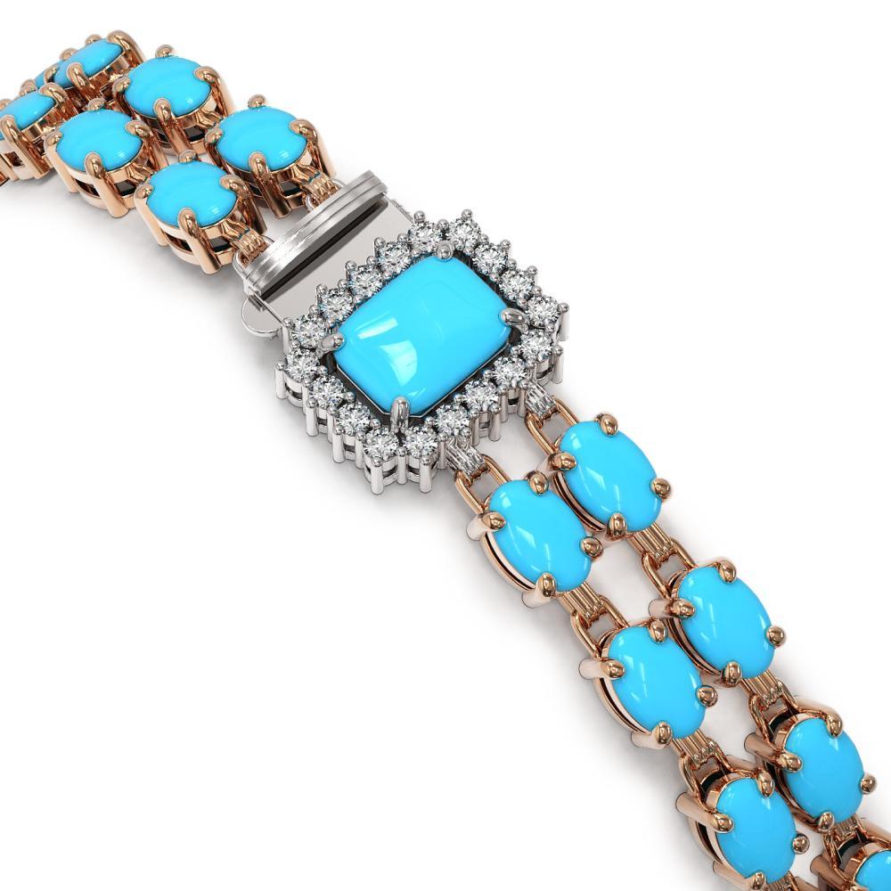 Lot 5116: 22.08 ctw Turquoise & Diamond Bracelet 14K Rose Gold - REF-244V2Y - SKU:45189