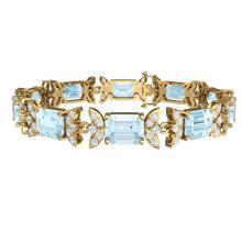 Lot 5122: 39.65 ctw Sky Topaz & VS Diamond Bracelet 18K Yellow Gold - REF-400F2N - SKU:39401